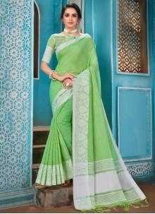Green Cotton Woven Designer Saree