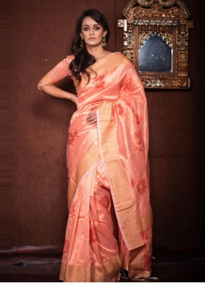 Orange Art Silk Woven Traditional Saree