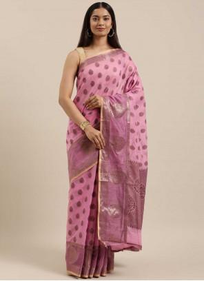Pink Handloom Cotton Woven Traditional Saree