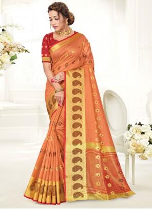 Peach Handloom Cotton Woven Work Traditional Saree