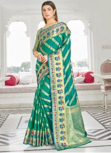 Green Woven Work Silk Traditional Saree