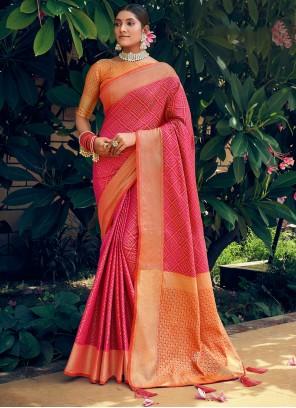 Hot Pink Woven Patola Silk Traditional Saree