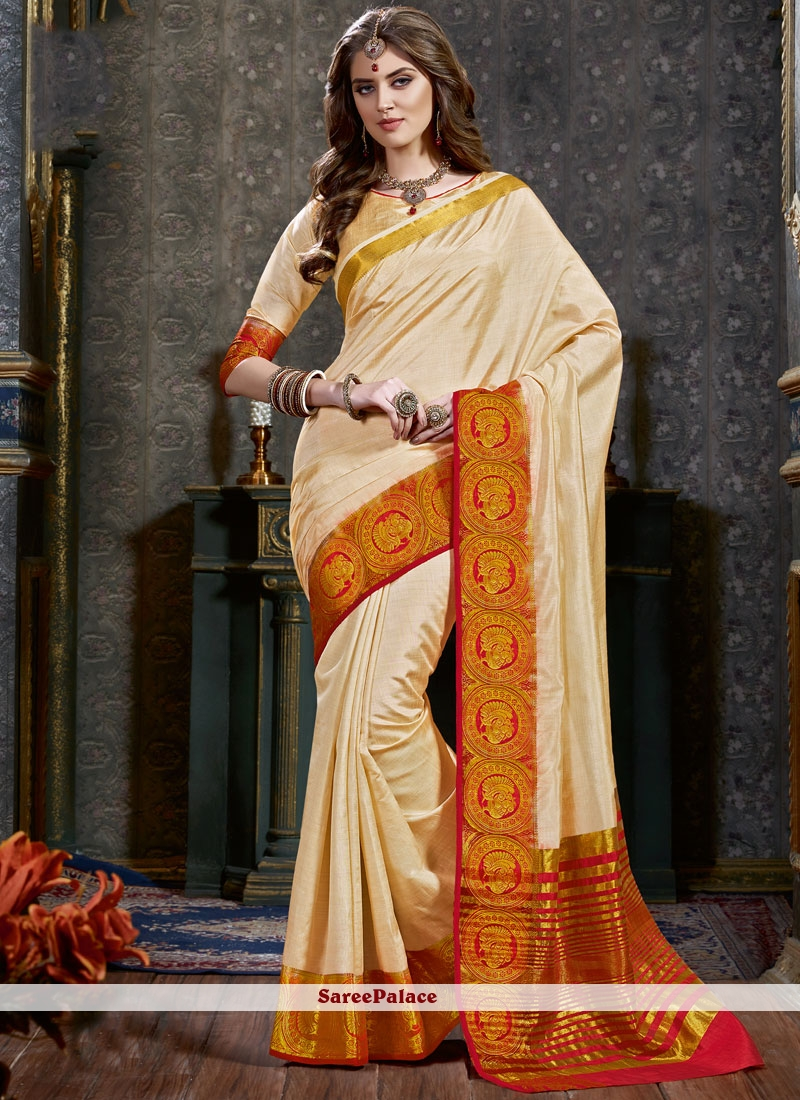 7752115df6ed1 Buy woven Tussar Silk Designer Traditional Saree in Cream Online