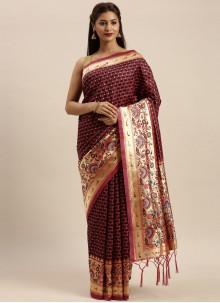 Woven Wine Silk Traditional Designer Saree