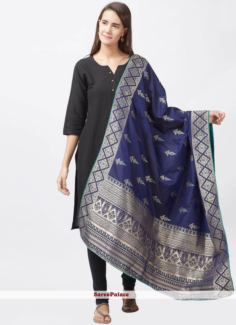 woven Work Black Art Silk Churidar Suit