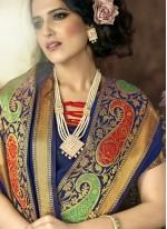 woven Work Blue Art Silk Traditional  Saree