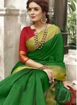 woven Work Green Cotton   Casual Saree