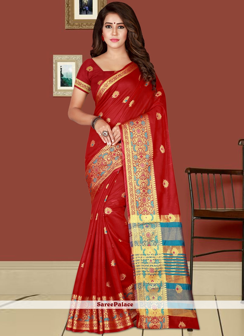buy woven work red traditional designer saree online