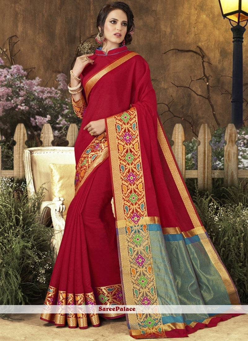 woven Work Red Traditional  Saree