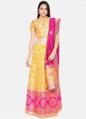 Woven Yellow Banarasi Silk Lehenga Choli
