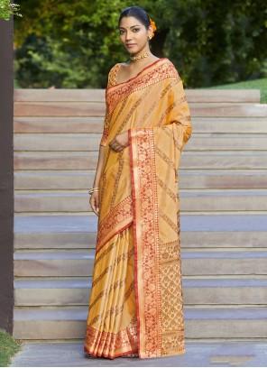 Woven Yellow Designer Traditional Saree