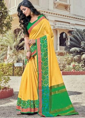 Woven Yellow Handloom Cotton Classic Designer Saree