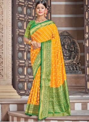 Woven Yellow Silk Traditional Saree