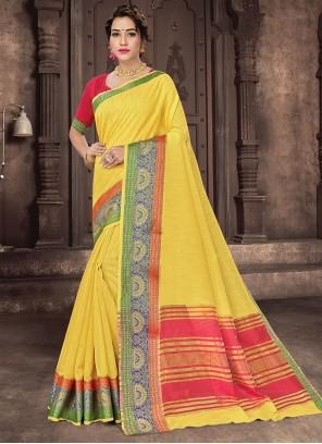 Woven Yellow Traditional Saree