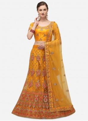 Yellow Embroidered Net A Line Lehenga Choli