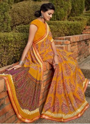 Yellow Abstract Print Bollywood Saree