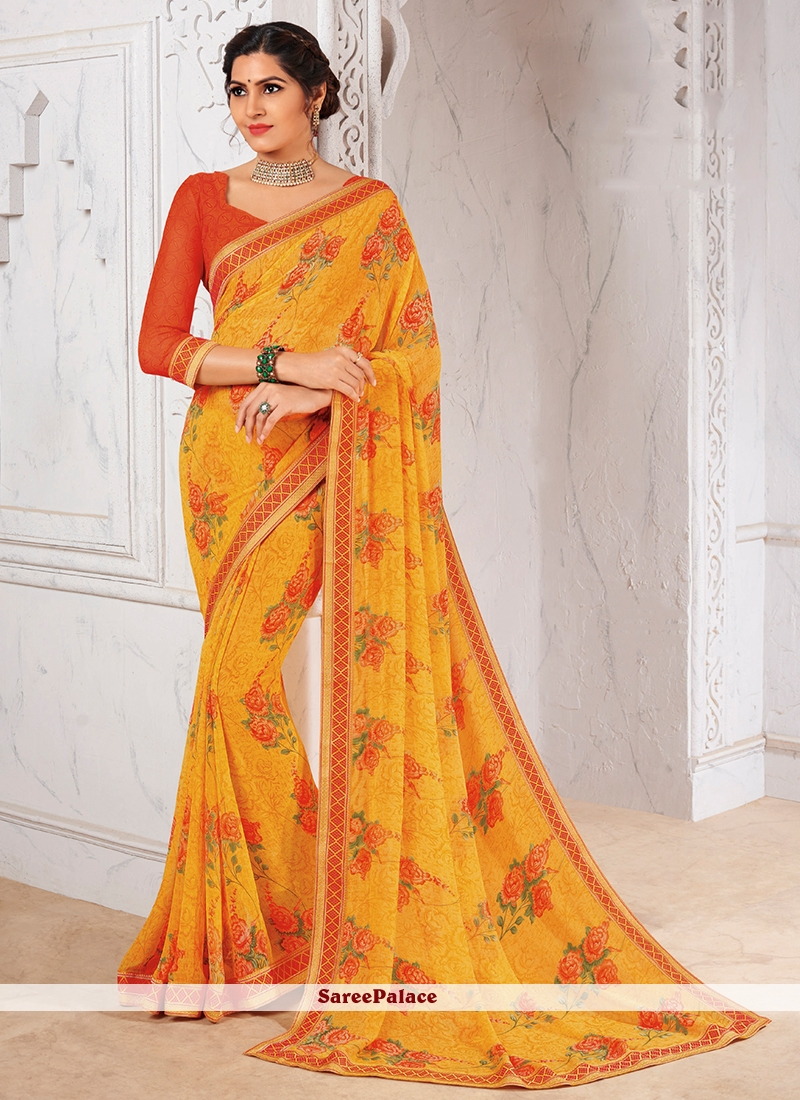 067162e759 Buy Yellow Abstract Print Faux Georgette Printed Saree Online