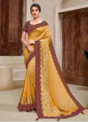 Yellow Applique Classic Saree