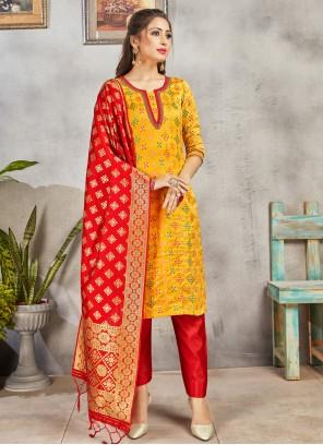 Yellow Art Banarasi Silk Pant Style Suit