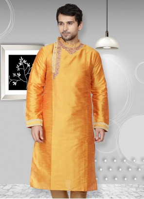 Yellow Art Dupion Silk Ceremonial Kurta