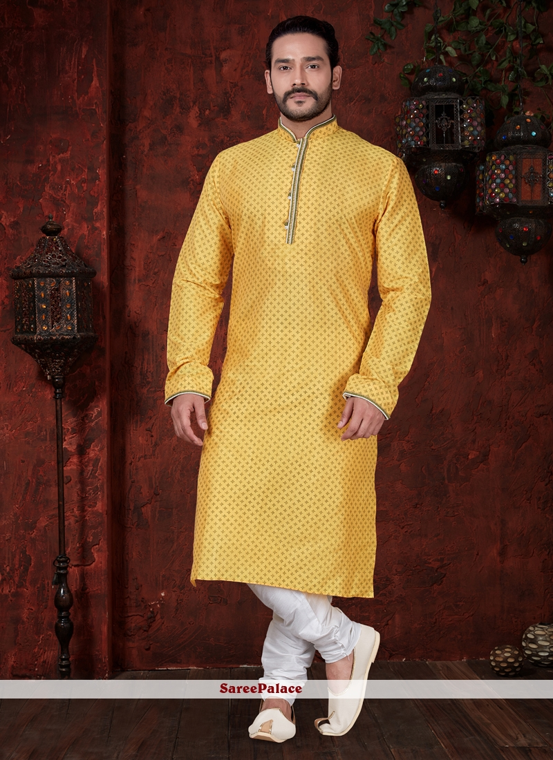 6d1928b8ed Buy Yellow Art Dupion Silk Kurta Pyjama Online