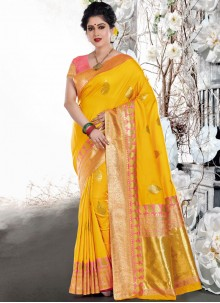 Yellow Art Silk Bridal Traditional Designer Saree