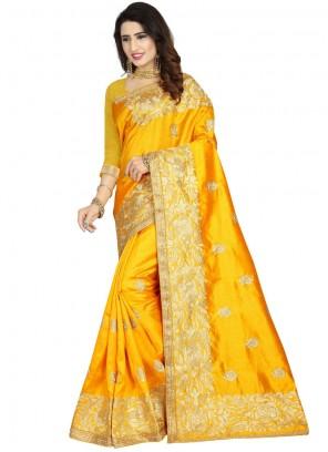 Yellow Art Silk Ceremonial Designer Traditional Saree