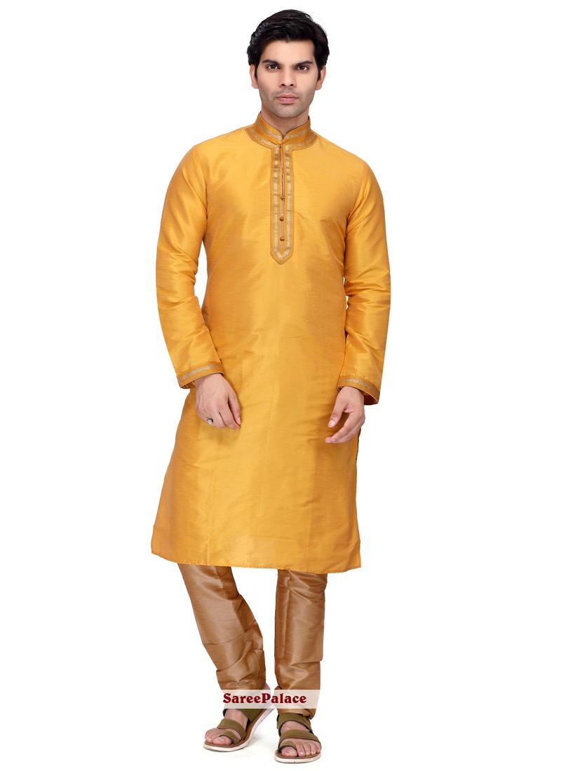 Yellow Art Silk Ceremonial Kurta Pyjama