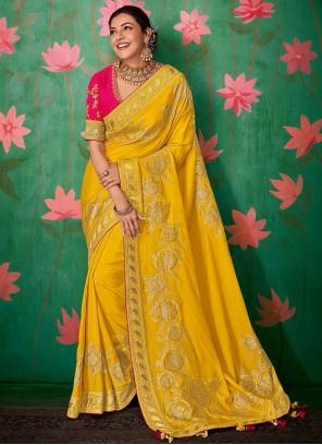 Yellow Art Silk Designer Saree