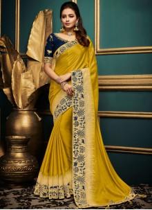 Yellow Art Silk Designer Traditional Saree