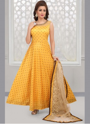 Yellow Art Silk Embroidered Anarkali Salwar Kameez