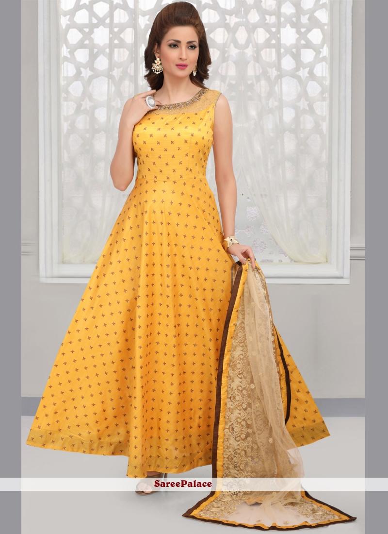 Yellow Art Silk Embroidered Anarkali Salwar Kameez