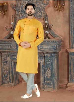 Yellow Art Silk Party Kurta Pyjama