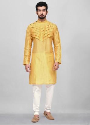 Yellow Art Silk Plain Kurta Pyjama