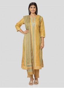 Yellow Art Silk Printed Salwar Kameez