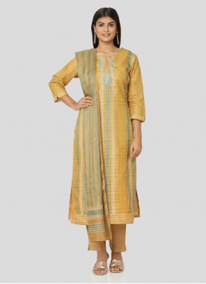 Yellow Art Silk Printed Salwar Kameez
