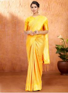 Yellow Art Silk Traditional Designer Saree