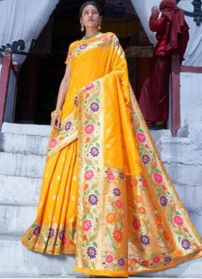 Yellow Art Silk Weaving Designer Traditional Saree