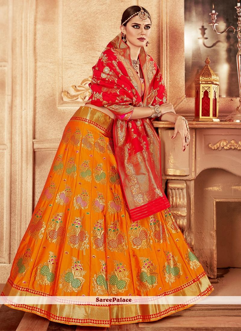 Yellow Banarasi Silk Lehenga Choli