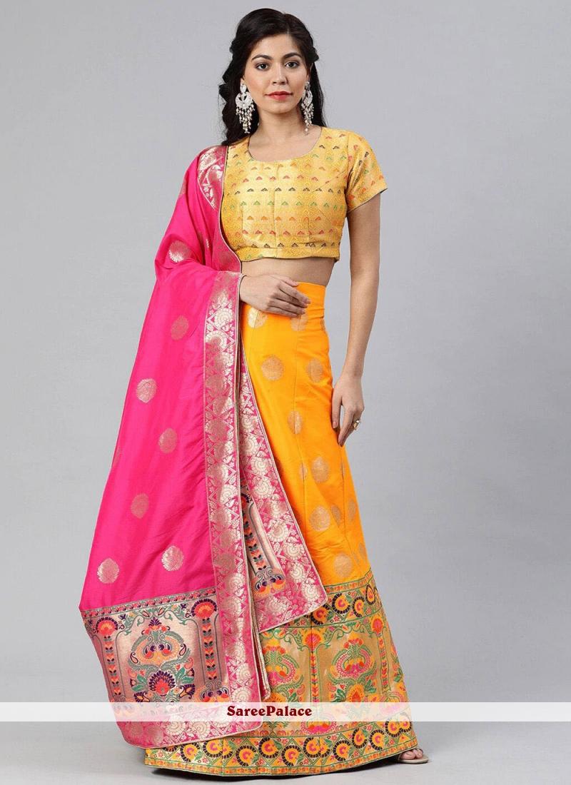 Yellow Banarasi Silk Woven A Line Lehenga Choli
