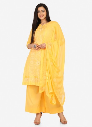 Yellow Blended Cotton Designer Palazzo Suit