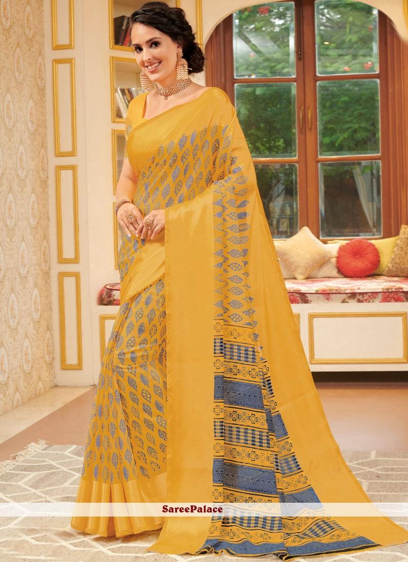 Yellow Casual Classic Saree