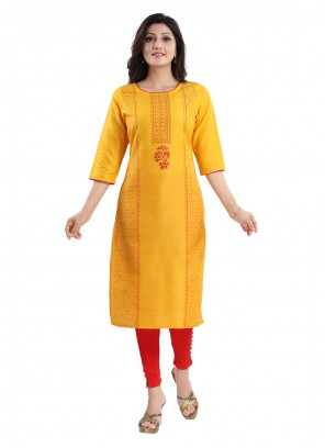 Yellow Casual Cotton Silk Casual Kurti