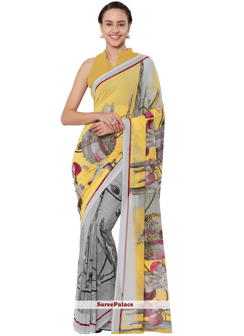 Yellow Casual Faux Georgette Casual Saree