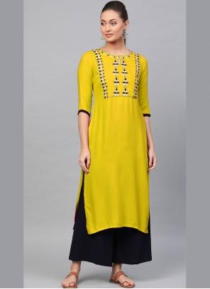 Yellow Casual Kurti