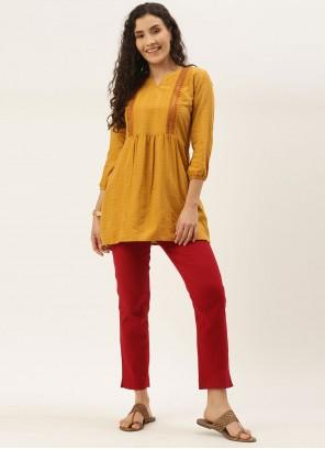 Yellow Casual Party Wear Kurti