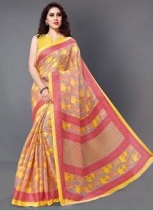 Yellow Casual Printed Saree