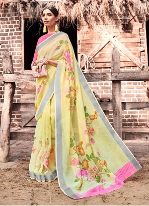 Yellow Casual Silk Printed Saree