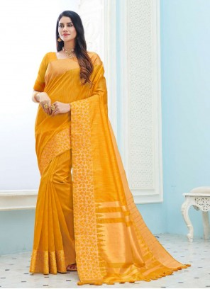 Yellow Ceremonial Art Silk Classic Saree
