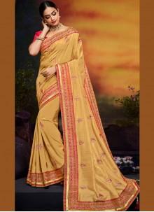 Yellow Ceremonial Art Silk Traditional Designer Saree